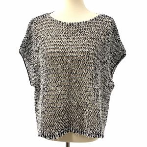 Eileen Fisher Marled Open Knit Cap Sleeve Box Top